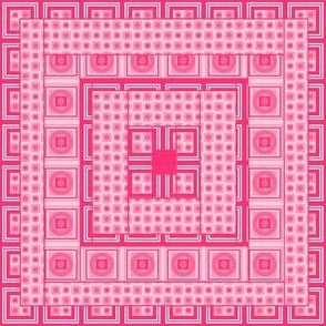 Pink Geometric Quilt Block