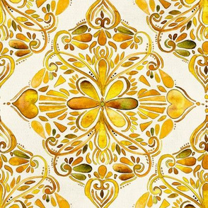 Golden Mustard Yellow Watercolor Doodle