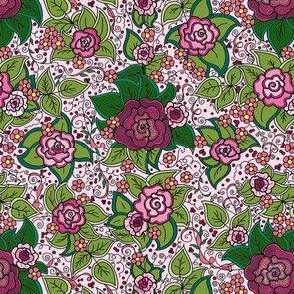 Asian Roses Floral Pink