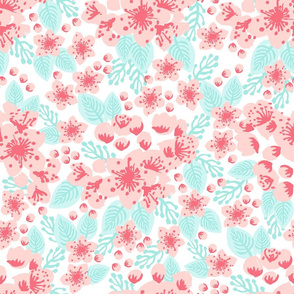 soft pastel cherry blossoms pink blush coral mint cute girls flowers florals