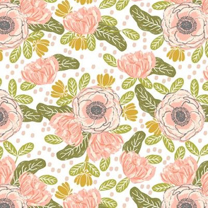 floral wallpaper blush flowers painted floral florals blooms blossoms garden spring girls