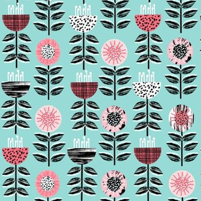 spring flowers floral wallpaper scandi scandinavian flowers mint pink cute girls nursery baby flowers