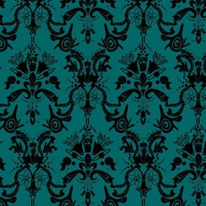 Damask - Cosmic Damask Blk On Dark Turquoise