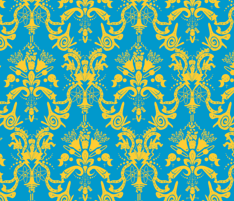 Cosmic damask curry on blue fabric studiozandra for Cosmic print fabric