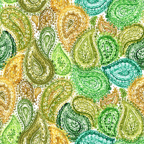 Spring Watercolor Ethnic Paisley Pattern