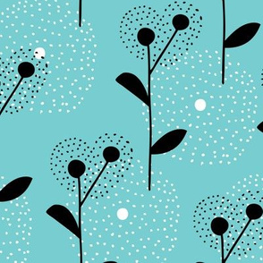 Soft scandinavian style dandelion bossom spring fabric blue