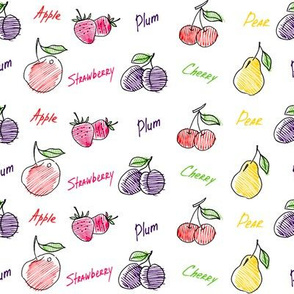 Hand drawn fruits mix seamless pattern