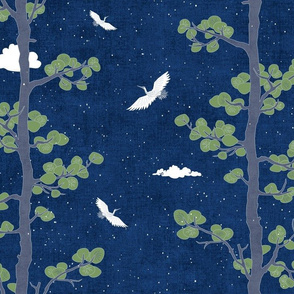Night Sky with Pines & Cranes