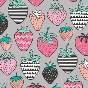 Strawberries Strawberry Geometric  on Grey