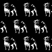 """Pug on Black - Small (2"""")"""
