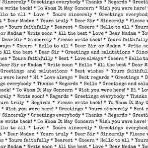Greetings and Salutations (Black & White) || typography text stripe love letter words etiquette hello goodbye low volume