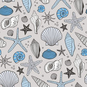Seashells Nautical Ocean Shells Blue on Grey