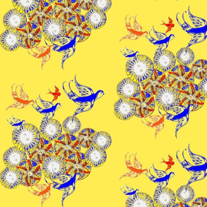 Birds In The Garden/yellow