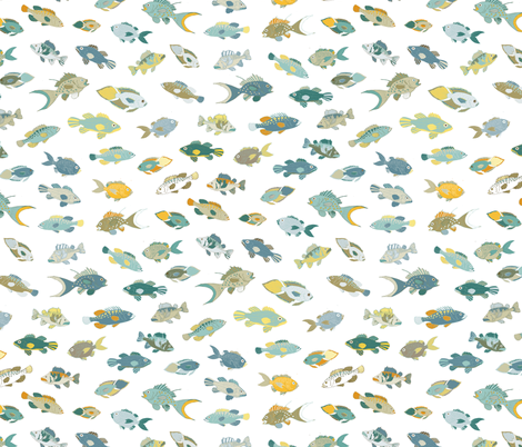 Fish coastal fabric cecca spoonflower for Fish pattern fabric