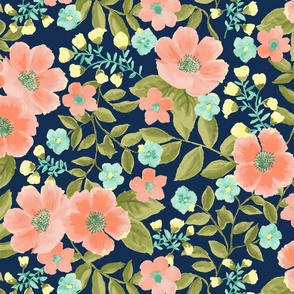 navy and coral floral