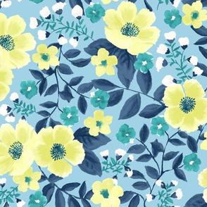 blue garden floral