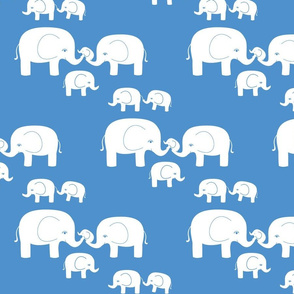 Elephants (white on blue)