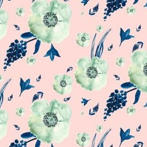 Pink & Blue Flowers Print
