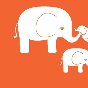 Elephants (white on orange)
