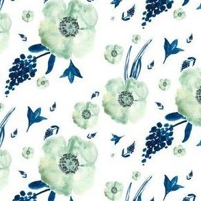 Blue & White Floral Print