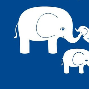 Elephants (white on dark blue)