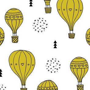 Sweet dreams hot air balloon sky scandinavian geometric style design gender neutral mustard yellow XL