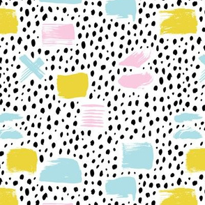 Strokes dots cross and spots raw abstract brush strokes memphis scandinavian style multi color XS