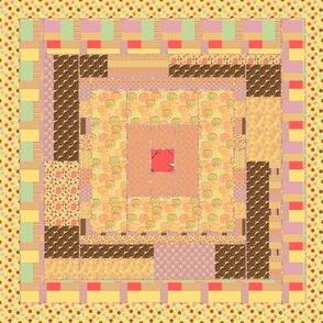 Peach Quilt Block 9