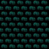 Turquoise elephants on Black
