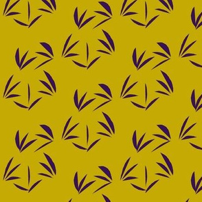 Deep Purple Oriental Tussocks on Antique Gold