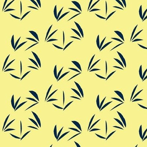 Indigo Oriental Tussocks on Buttery Yellow - Small