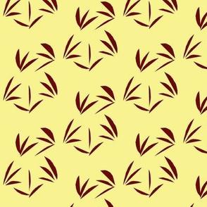 Garnet Oriental Tussocks on Buttery Yellow
