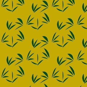 Forest Green Tussocks on Antique Gold