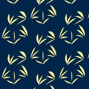 Buttery Yellow Oriental Tussocks on Indigo - Large Scale