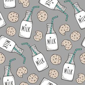 Milk and Cookies on Dark Grey