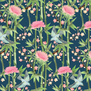 Bamboo, Birds and Blossoms on teal - small