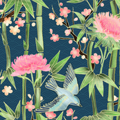 Bamboo, Birds and Blossoms on teal