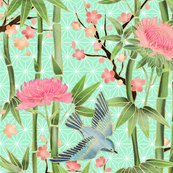 Bamboo, Birds and Blossoms on mint