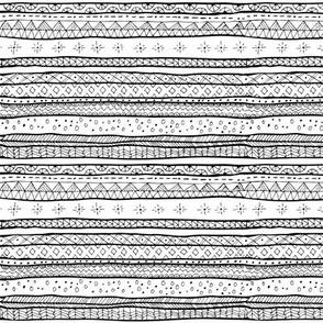 Mini Mudcloth Tribal Doodle Stripe