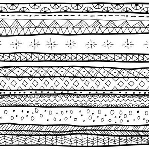 Mudcloth Tribal Doodle Stripe Large