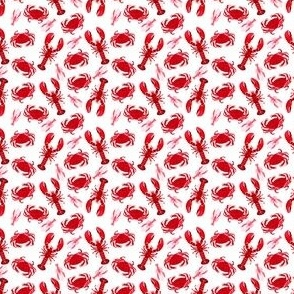 crabs and lobsters // ocean mini print super tiny ocean white red nautical summer