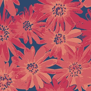 red anenomes on soft navy