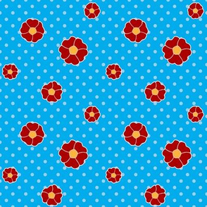 Poppies on Blue with White Polka Dots