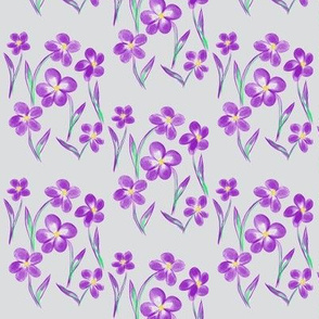Dainty Meadow Flowers on Silver Mist - Medium Scale