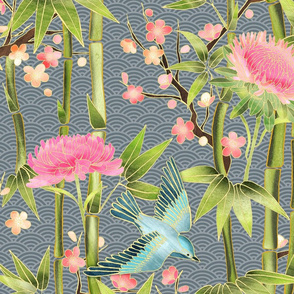 Bamboo, Birds and Blossoms on grey