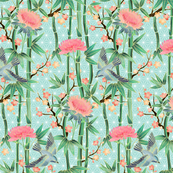 Bamboo, Birds and Blossoms on soft blue - small