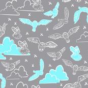 owls gray + blue