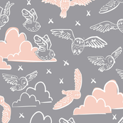 owls gray + peach
