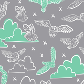 owls gray + green