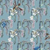Birds in Wisteria
